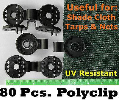 Polyclips 80pcs Instant Adjustable Grommets Tarp Fabric Shade Cloth Poly Clips