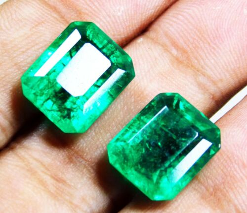 Loose Gemstone Natural Emerald 8 to 10 cts Certified Emerald Shape Pair