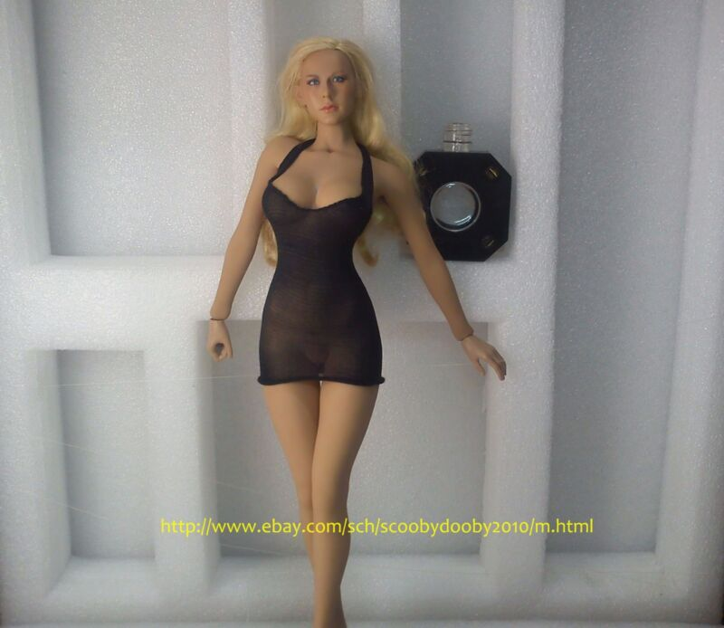 for PHICEN female Hot Toys Kumik Cy girl STRETCH DRESS ONLY CUSTOM 1/6 BLACK HTF