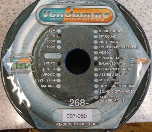 Van Damme Cable 268-007-060 Pro Grade XKE Balanced Pro-patch cable (per meter)