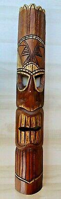 "TIKI MASK WOOD CARVED 39"" HAWAIIAN BAR PATIO DECOR TRIBAL TROPICAL POLYNESIAN"