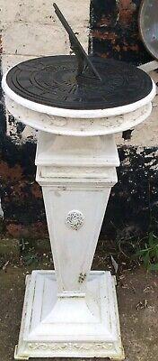Vintage Cast Iron Square Pedestal Sundial Plinth