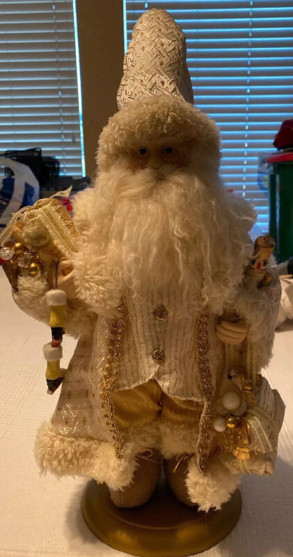 Ivory and Gold Santa Claus Christmas Figure with Gift Bag