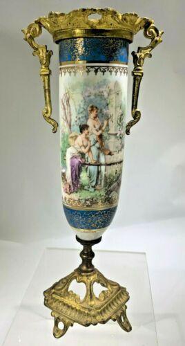 Antique French Sevres Style  Gilt Bronze Porcelain Scenic Vase