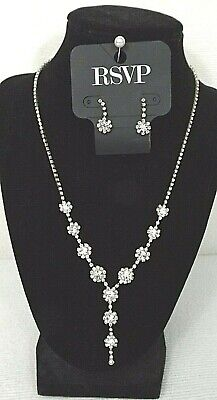 Charming Charlie RSVP Necklace Clear Crystal Drop & Dangle Earrings Bride Prom