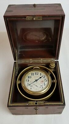 WALTHAM 8-Day Marine Ship CHRONOMETER  3-Tier Box wind indicator w/key 15 jewels