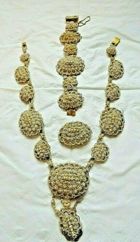 Antique Pre 1789 Georgian Seed Pearl & 18K Gold Filigree Parure with Provenance