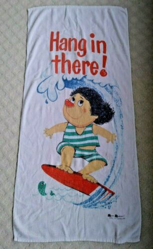 """Vintage 1970s """"HANG IN THERE!"""" SURFING Beach TOWEL Cartoon 26"""" x 54"""""""