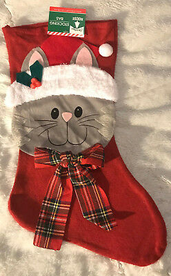 Plaid Christmas Stocking (Cat w/Plaid Bow & Fuzzy Hat Christmas Stocking-Decorative Felt)