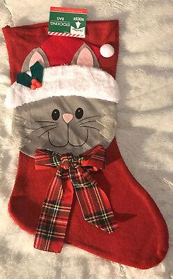 Cat w/Plaid Bow & Fuzzy Hat Christmas Stocking-Decorative Felt Stocking (Plaid Christmas Stocking)