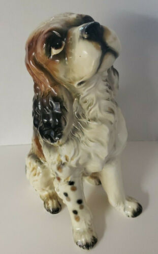 "Vintage Large 11"" Porcelain Ceramic Cocker Spaniel Dog Puppy Figurine Japan"