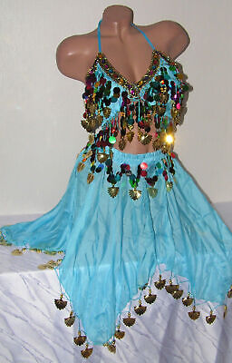 Bauchtanz Kostüm Rock Top Belly Dance Kleid orientalisch Münztuch Farben (Bauchtanz Kleider Kostüm)