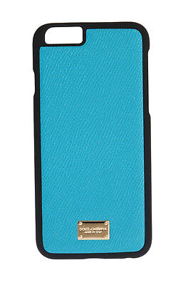 NEW $150 DOLCE & GABBANA Phone Case Skin Blue Dauphine Leather Gold Logo iPhone6