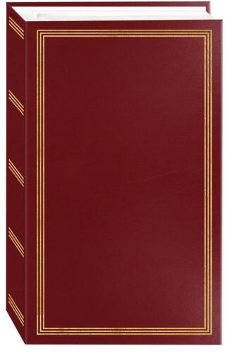 "Photo Album 3 Ring Pocket Storage Case Picture Book 4x6"" Holds 504 Burgundy New"