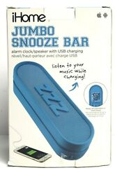 iHome IM14BC Jumbo Snooze Bar Alarm Clock with USB Charging Blue