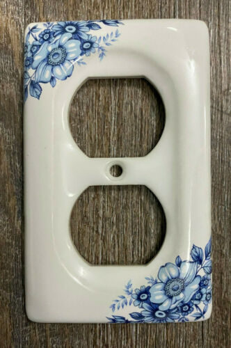 1 Porcelain Ceramic Double Outlet Plug Plate Cover White w/Blue Flowers AmerTac