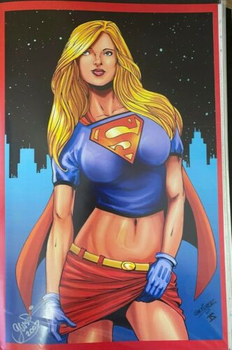SEXY SUPERGIRL UPSKIRT ACTION GW FISHER SIGNED PRINT 11 x 17 #oa-1196
