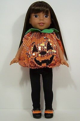 PUMPKIN Halloween Costume Doll Clothes For 14 American Girl Wellie Wishers (Debs - Doll Clothes For Halloween