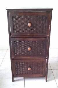 RUSTIC DARK WOOD 3 DRAWER STORAGE CABINET Maribyrnong Maribyrnong Area Preview