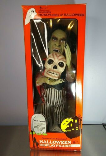 """24"""" Telco Animated Halloween Vampire Dracula Motionette Skull Glows TESTED WORKS"""