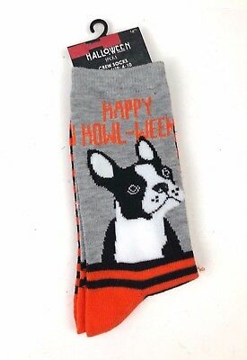 Womens Black Orange Happy Howl-ween Novelty Socks French Bull Dog Size 4-10 NWT - Happy Halloween French