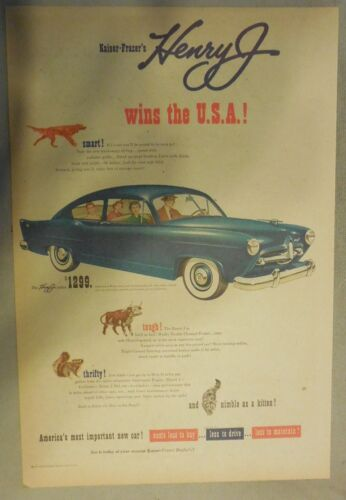 Kaiser Car Ad: Henry J Wins The USA Featuring 1950 Model