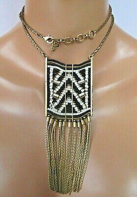 Lucky Brand Necklace Long Beaded Fringe Chest Plate Gold Black White Boho ](Gold Chestplate)