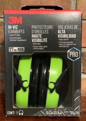 3M Pro-Grade Hi-Viz Earmuff Green NEW