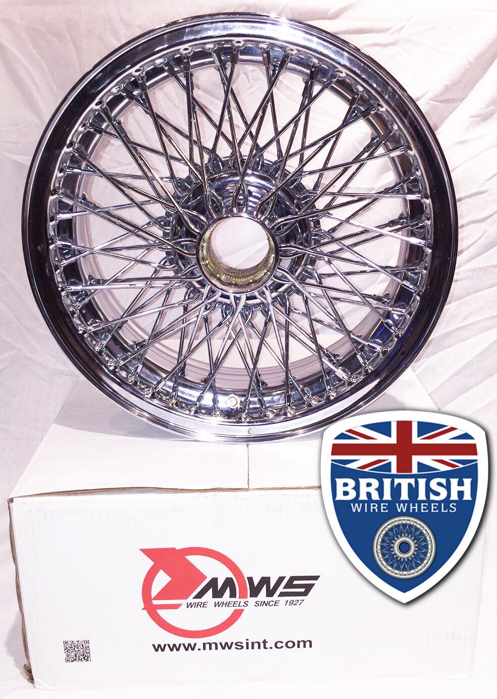 """15""""x4.5"""" 60 Spoke Wire Wheels Chrome TUBELESS MG Austin Healey Morgan Dunlop MWS"""