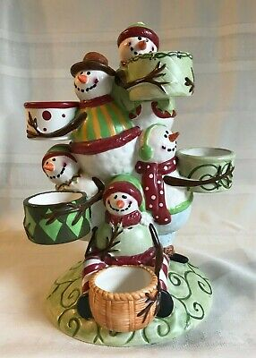 "YANKEE CANDLE CO.~HOLIDAY SNOWMAN ""PILE UP""~5 SNOWMEN CERAMIC TEA LIGHT HOLDER"