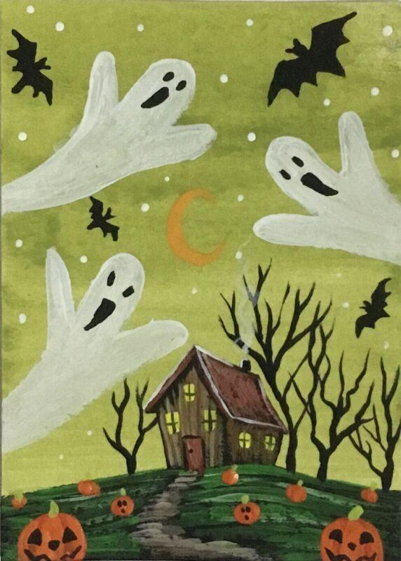 ACEO Original Halloween Gouache & Acrylics Sketch Card Ghosts Pumpkins Bats