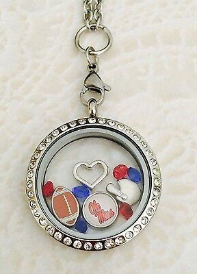 Ole Miss Rebels Memory Locket Stainless Steel Comes With Chain And Charms
