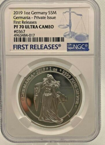 GERMANIA 2019 PROOF 1 OZ SILVER COIN - NGC FIRST RELEASES PF70 ULTRA CAMEO #387