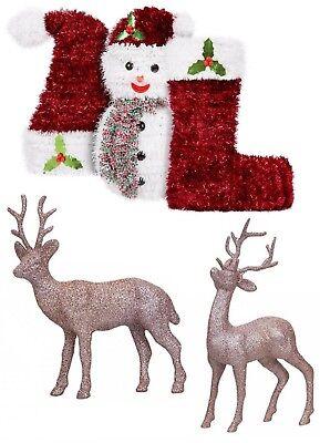 Xmas Decoration Large Reindeer,Stocking,Hat,Snowman,Rose Gold Table Decoration (Reindeer Decoration)
