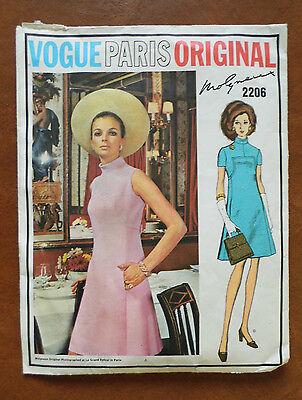 VINTAGE VOGUE PARIS ORIGINAL  MOLYNEUX  DRESS SEWING PATTERN # 2206 SIZE 16