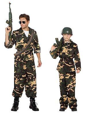 Soldat Ranger Kämpfer Rambo Armee Uniform Söldner Herren Kinder Kostüm Tarnanzug