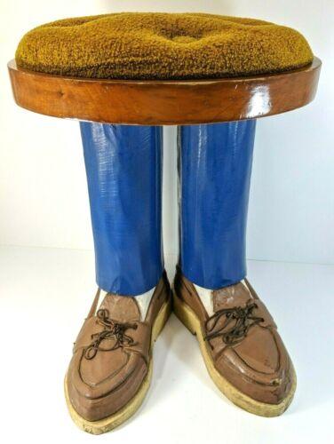 Vintage Doug Amidon Hand Carved Painted Wood Foot Stool