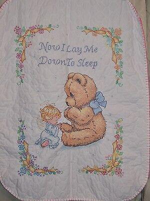 """Handmade Cross Stitch Girl Quilt """"Sweet Prayer"""" Shower Gift Blanket Bear Angel"""