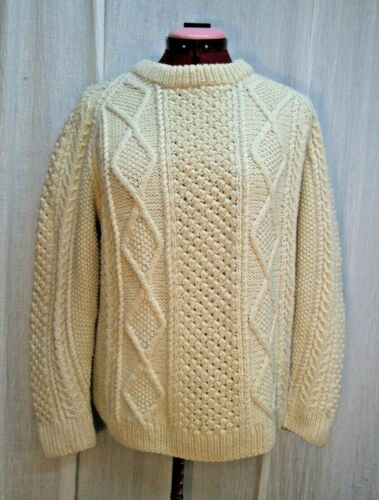 The Irish Shop Hand Knit Fishermans Aran Cable Knit Sweater Pullover Mens M