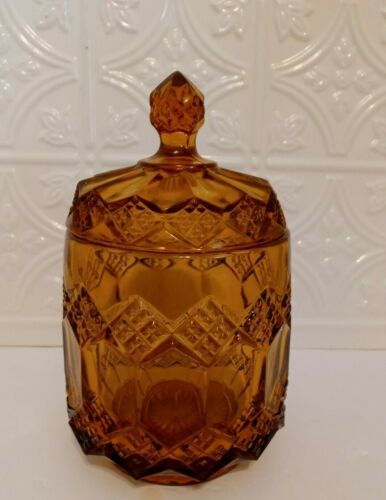 """Vintage Brown Cut Glass Footed Bowl W/Lid Diamond Patterned-Large ~17"""" Circ."""
