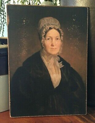 Antique Reproduction Colonial Primitive Woman Print on Canvas Board 5x7