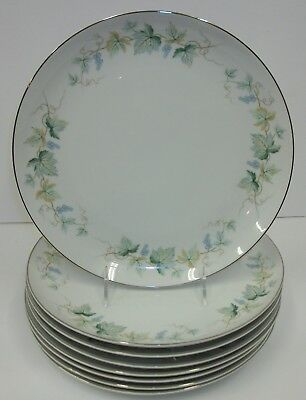 "Set of 8 Fashion Manor Vineyard China 10"" Dinner Plates Blue Grapevine - Japan"