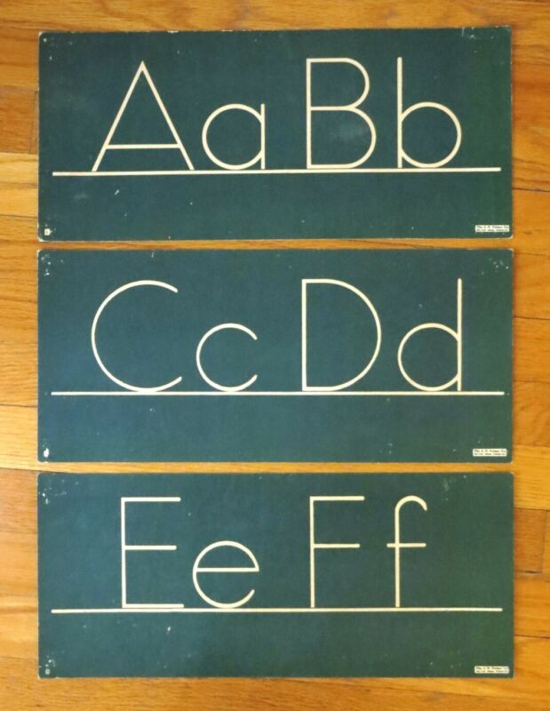 Vintage School Room Charts Palmer Co. Green Alphabet Block Printing & Numbers