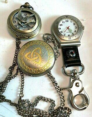 Vtg Lot Quartz Pocket Watches Croton Ravada Chain Cut Out Eagle Working