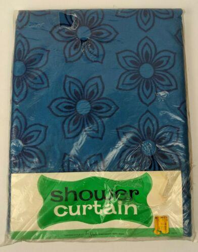 Vintage NOS 70s Tex-Style Shower Curtain Blue w. Velvet Flowers 70x72