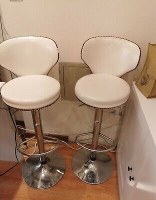 bar stool pair of cream and faux leather