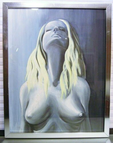 Vintage Modernist Gouache Painting Female Nude