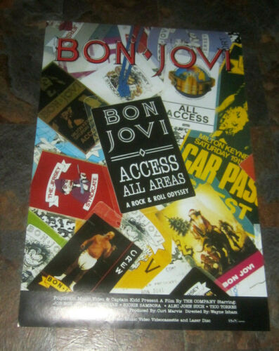 "BON JOVI 24"" x 36"" original Access All Areas Promo VINTAGE poster hair metal"