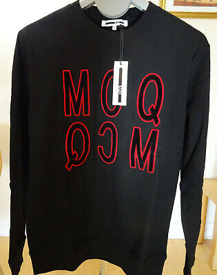 MCQ Authentic ALEXANDER MCQUEEN Medium Black Velvet Logo Sweatshirt/Jumper BNWT