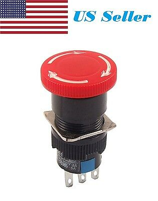 Red Mushroom Dc 30v 5a Ac 250v 3a Emergency Stop Push Button Switch Cp